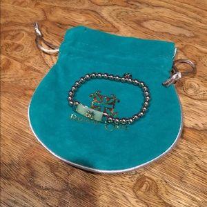 Rustic Cuff mint bar silver bead bracelet